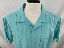 Load image into Gallery viewer, Men's Haggar size XL Light Turquoise White Steel Gray striped button front short