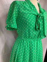 Load image into Gallery viewer, Forever 21 Size S Polka Dot Lime Green White Poka Dot Dress Short Sleeve