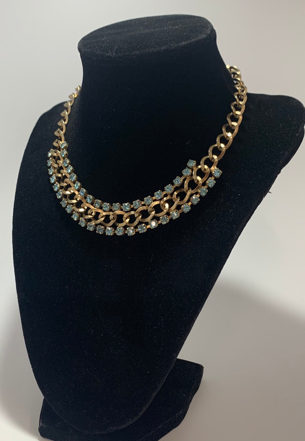 Vintage Gold Tone 2 Row Blue Rhinestone Chain Collar Style Necklace 14 1/2
