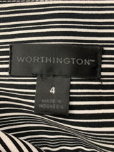 Load image into Gallery viewer, Worthington Size 4 Black White and Pink Stripe Side Pleated Skirt