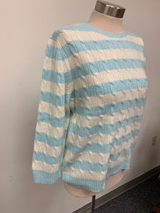Lord and Taylor Pastel Blue and Ivory Cashmere Sweater sz XL
