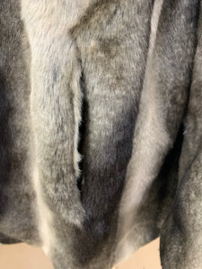 Women's GALLERY Gray and Silver Gray  Faux Fur Jacket