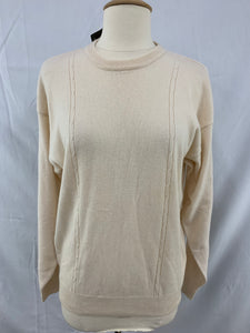 NWT JC Penney Yarn Works Cashmere Cream Pullover Sweater sz L (16-18)