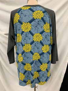 LuLaRoe Womens Long Sleeve Shirt 2XL Gray Sleeves yellow blue