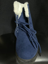 Load image into Gallery viewer, NIB SQL Women's Blue faux fur plush ankle boots size 41/8.5