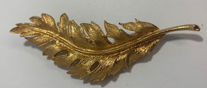 Vintage Coro 1961 Gold Tone Feather Brooch/Pin