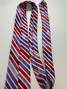 Alexander Julian Colours Red, White, Blue Striped Tie 100 % Polyester