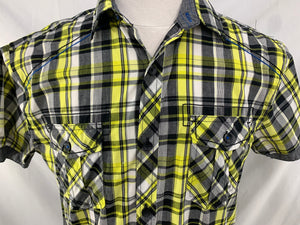 DRILL CLOTHING CO. NYC Men's Shirt Size M Black Yellow White  Button Front Short