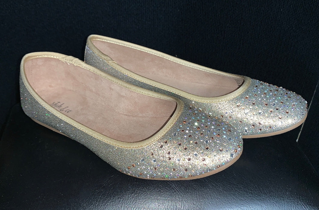 Style & co Angel Yellow and Gold Glitter Jewel Size 8 Flats