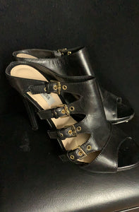 GUESS Clarie Black Leather Open Toe Mules Heels Size 6M