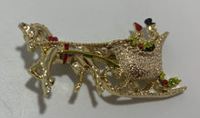 Load image into Gallery viewer, Vintage Gerry's Enamel Gold Tone Christmas Horse Sleigh Brooch/Pin