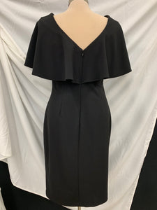 Calvin Klein Plain Black Ruffle Back Ruffle Back Short Seath Dress sz 6