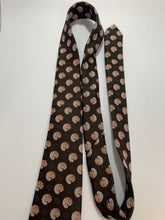 Load image into Gallery viewer, Vintage Prince Consort Brown Circular Pattern Tie with Golden Clasp Poly 52""