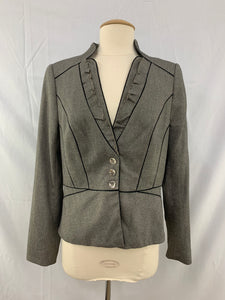 White House Black Market Size 8 V Neck Jacket Warm Gray Black Piping RufflesTrim