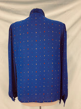 Load image into Gallery viewer, Chaus Brand LongSleeve Blue Sheer Blouse Button Neck Sz 12