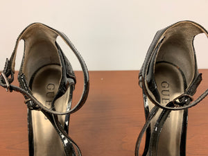 GUESS TAILGATE Black Texture Evening Open Toe Heels size 5.5M