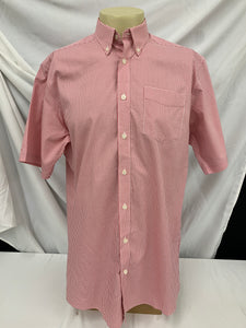 Mens Red Checked EDDIE BAUER Wrinkle Resistant Relaxed Fit Short Sleeve Shirt sz