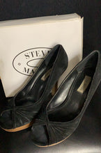 Load image into Gallery viewer, STEVE MADDEN PAWLA Black Suede Peep Toe Platform Pump Stacked Wood Heel