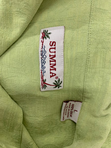 Men's summa mens short sleeve light green shirt sz L