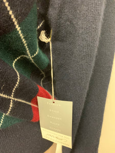 NWT Lord & Taylor 100% Cashmere Argyle Button Cardigan sz S