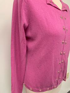 NWT Lord and Taylor Pink Hook Eye Down Cashmere Sweater sz M