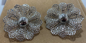 Vintage Silver Tone Lacy Flower Huge Clip on Earrings Sarah Coventry