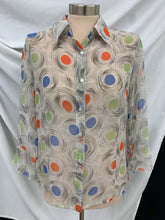 Load image into Gallery viewer, Nicola Woman's Button Down Ruffled Sleeve Sheer blouse Ivory Orange Blue size