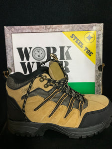 NIB WORK WEAR BY Wrangler Taupe Jameson Steel Toe BOOTS Size 8.5 M