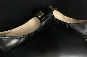 NEW Cole Haan Bow Ballet Ballerina Bow and Gold Metal Logo Flat Flexible