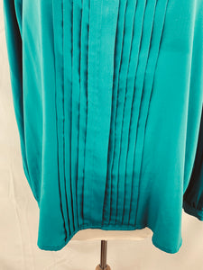 Vintage Women's Astor One size 14 Dark Turquoise Pleated Blouse