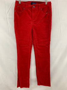 NWT Talbots Women 2 Crimson Corduroy Heritage Slimming 5 Pocket Pant Cotton Stre