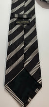 Load image into Gallery viewer, Villa Ponti Brand Black with White Stripes Tie 100% Silk 61 1/2""