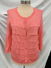 Load image into Gallery viewer, NWT Talbots Cardigan Sweater Dark Salmon Pink Womens Size M Ruffle 3/4 Sleeve