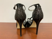 Load image into Gallery viewer, GUESS TAILGATE Black Texture Evening Open Toe Heels size 5.5M