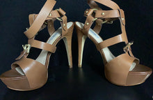Load image into Gallery viewer, GUESS Strappy Tan Leather Heels size 7.5M