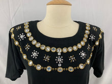 Load image into Gallery viewer, NWT ROBBIE BEE size 16P Dress Black Brown Tan Neck Ornament Short Sleeve Women's