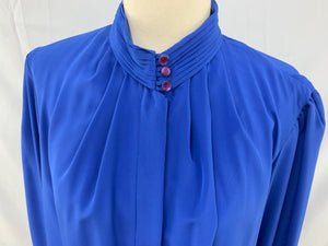 Gailord Size 14 Long Sleeve Button Down Blue Dress Blouse Top