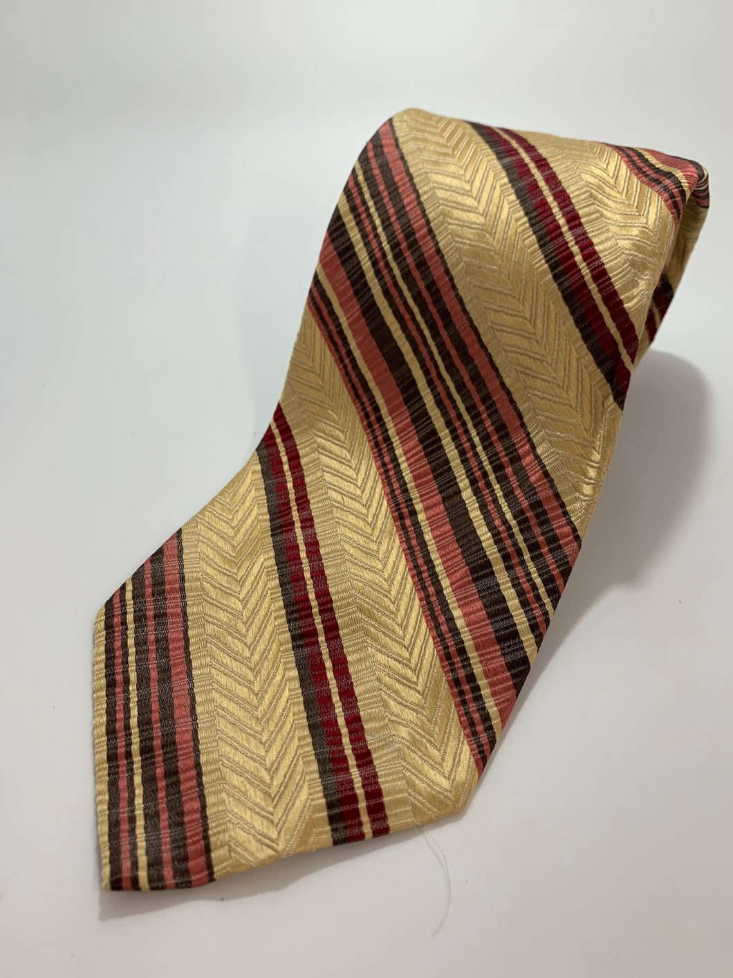 Pierre Cardin Tie, All Silk Vintage Brown and Red Stripe pattern 55