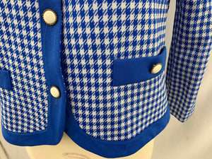 Polyester Size 10 Blue White Checkered Long Sleeve Jacket
