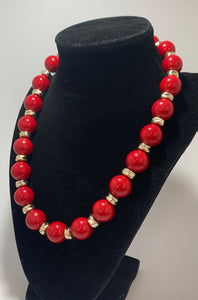 Vintage Red Bead Silver Spacer Necklace 19""