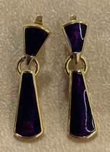 Load image into Gallery viewer, Trifari Vintage Gold Tone Purple Enamel Door Knocker Earrings