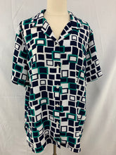 Load image into Gallery viewer, Alfred Dunner Size 14 Green Whiter Button Down Short Sleeve Shirt Semi S