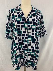 Alfred Dunner Size 14 Green Whiter Button Down Short Sleeve Shirt Semi S