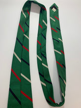 Load image into Gallery viewer, B. Forman Company Vintage 100% Silk Green Striped Tie 58""