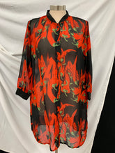 Load image into Gallery viewer, REN FIBER (XXXXL) Blouse Silk Like Semi Sheer Chili Peppers Black Red  Floral Pl