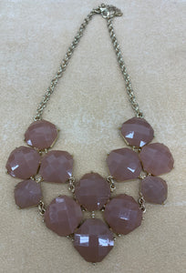 NY Brand Necklace Bib Style Light Brown 18""