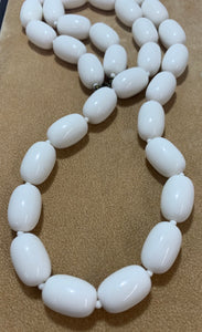Vintage White Chunky Bead, Whit Spacer Necklace 30""