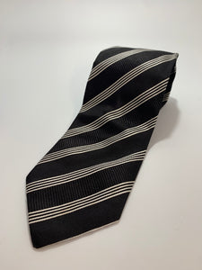 Villa Ponti Brand Black with White Stripes Tie 100% Silk 61 1/2""