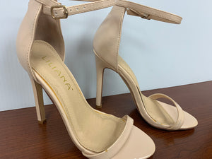 Liliana Very Light Nude Open Toe Stiletto Sandal Ankl