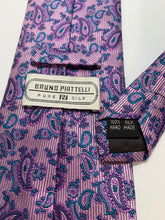 Load image into Gallery viewer, Vintage Bruno Piattelli Purple Paisley Pure Silk Tie 61""
